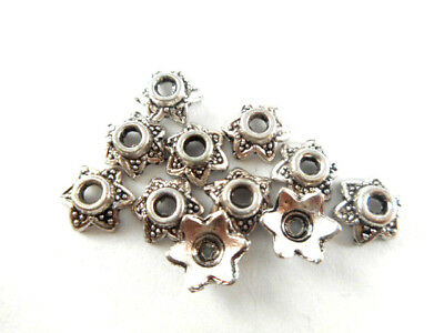 Antique Silver Plated Lead Free Alloy 7mm Tiny Decorative Star Bead Caps Q250