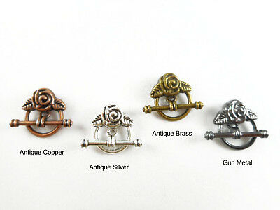 20mm Rose Toggle Clasp Q12 Antique Copper Brass Silver Gun Metal Plated