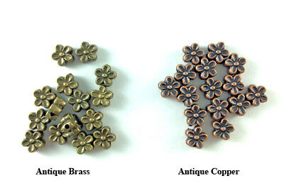 7mm Daisy Flower Flat Antique Brass Copper Plated Lead Safe Alloy Beads Q60