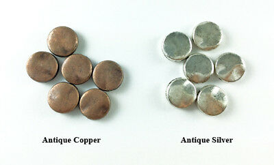 10mm Hammered Coin Bead Antique Copper Silver Plated Lead Safe Alloy Q24