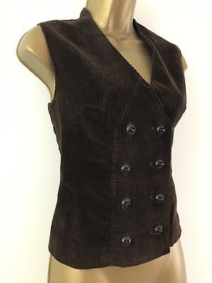 Vintage Harella Waistcoat Brown Cord Button Detail Size 12