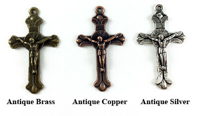 Antique Silver Brass Plated Lead Safe 40x23mm Crucifix Cross Pendants Q16