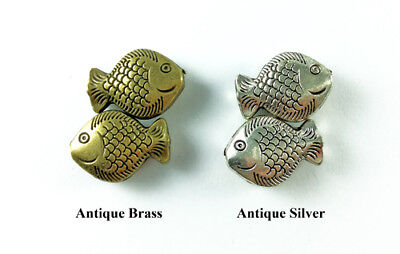 20mm Fish Sea Life Ocean Antique Brass Silver Plated Lead Safe Alloy Beads Q8