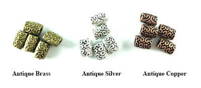 Antique Silver Plated Lead Safe Alloy 8x6mm Flat Baroque Barrel Beads Q64