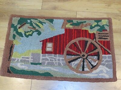 """Antique 35"""" x 21"""" Hand Hooked Rug of Barn/Building with a Water Wheel"""