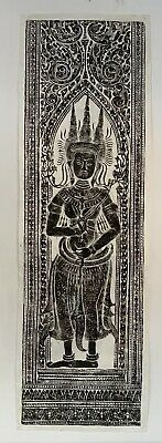 Vintage Cambodian Rice Paper Wall Hanging - Angkor Wat Temple Rubbing Large