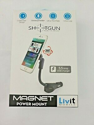 Livit Mobile Magnet Power Mount Car 3 Port USB Charger Universal Holder