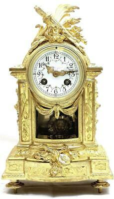 Antique French Mantle Clock Rare Embossed Bronze 8 Day 1880's Bell Striking