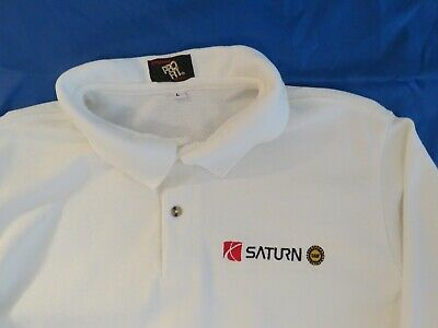 Men's SATURN Dealership UAW Embroidered Long Sleeve Polo/ Golf Shirt Size L