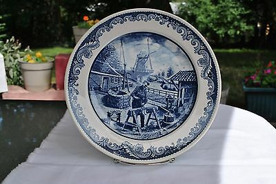 "Mid 19th Century Delft Blauw Decorative Porcelain Wall Plate ""The Shoemaker"""