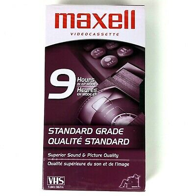 Maxell Rare 9 Hour T-180 VHS Blank Video Cassette Tape EP New Sealed