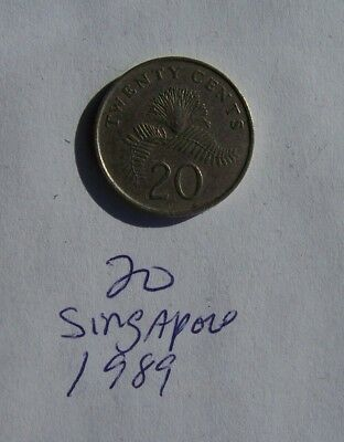1 Coin Singapore 20 Cents 1989 Free Shipping