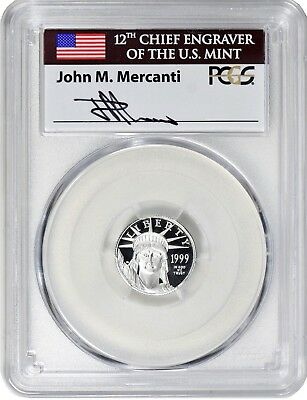POP 41 1999-W $10 1/10 OZ Platinum American Eagle PCGS PR70 DCAM Mercanti Signed