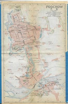 1915 IMPERIAL JAPANESE RAILWAY MAP of FOOCHOW CHINA