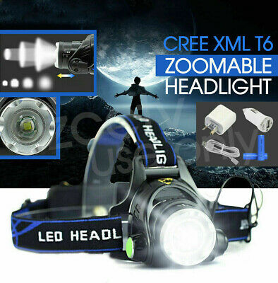 80000LM Zoomable LED Headlamp Rechargeable Headlight CREE XML T6 Head Torch