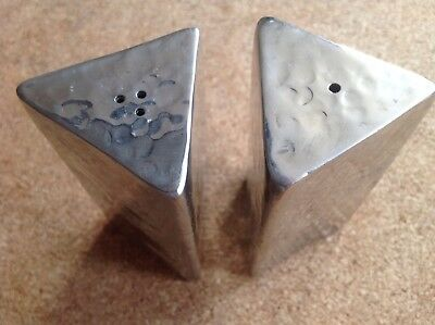 Fab vintage 70's large hammered steel cruet set, triangular, with stoppers.
