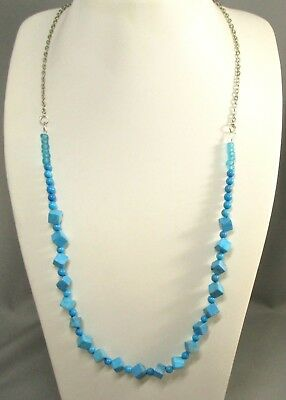 Silver Tone Blue Green Stone Turquoise? Beaded Fashion Necklace #828