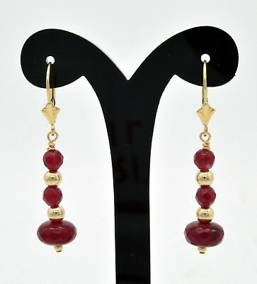 New 14K Solid Yellow Gold  Round ruby Bead dangling Drop leverback Earrings