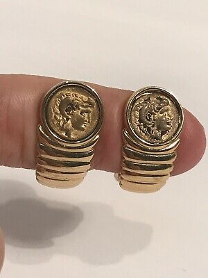 Vintage Miniature Faux Roman Coin Earrings Gold Tone Clip On Goldtone