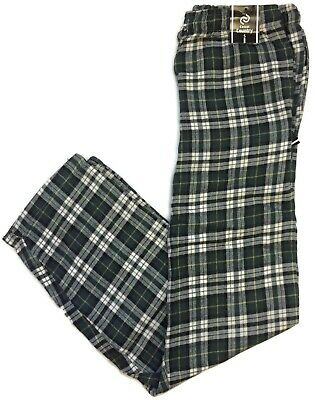 Casual Country Mens Green Plaid Flannel Pajama Pants Lounge Sleep Cotton Blend