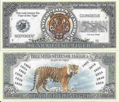 Year Of The Tiger Independent Courageous Million Dollar Bills x 2 Chinese Zodiac
