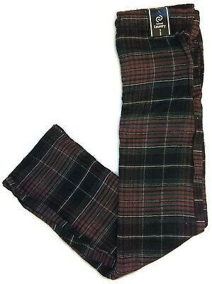 Casual Country Mens Black Red Flannel Pajama Pants Lounge Sleep Cotton Blend