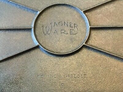 "Wagner Ware Cast Iron 17"" Double Griddle B Vintage Antique USA"