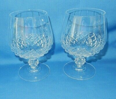 "2 Diamond Hobnail Crystal Goblets Glasses 5"" Golf Ball Stem Brandy Snifters"