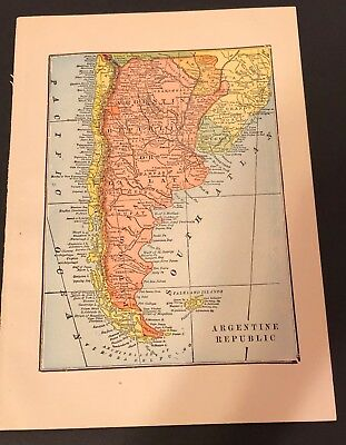 Antique 1905 Encyclopaedia Britannica Color Map of ARGENTINE REPUBLIC