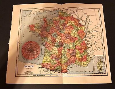 Antique 1905 Encyclopaedia Britannica Folding Color Map FRANCE