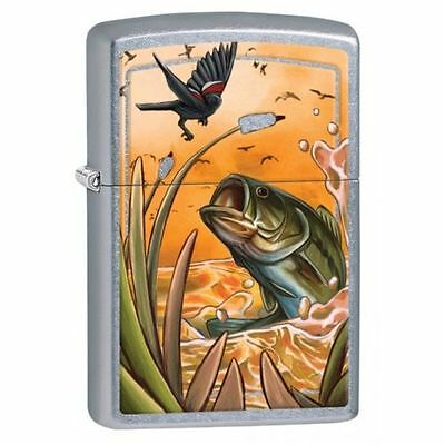 "Zippo 29391, ""Largemouth Bass"" Satin Chrome Finish Lighter"