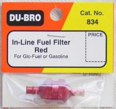 "Dubro Red Aluminum In-Line Fuel Filter DUB834 Fits Standard 3/32"" ID Fuel Line"