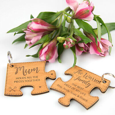 Mothers Day Personalised Engraved Wooden Puzzle Keyring 2 piece Gift Set