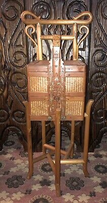 Vintage Bamboo Cane Arts & Crafts Stand With Ornate Asian Double Wedding Basket