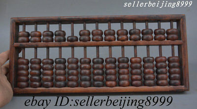 "14""Collect Old Chinese Huali Wood Handwork Compute Counting Frame Abacus Suanpan"