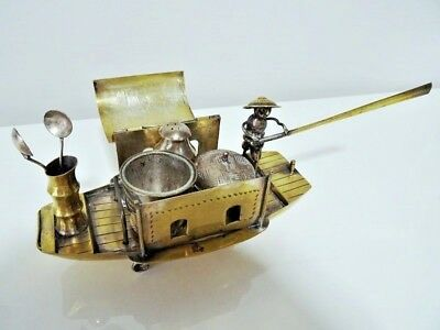 antique CHINESE EXPORT CRUET set CONDIMENT boat junk with glass liners & spoons
