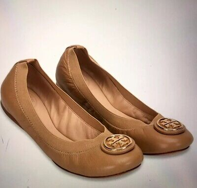 2e8802c7f6e4 New In Box Tory Burch Caroline Patent Leather Ballet Flats Shoes Sand 7.5