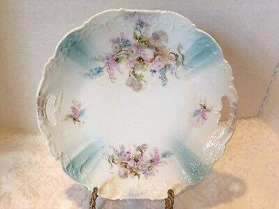 Antique Victorian Plate Blue Pink Handles 10""