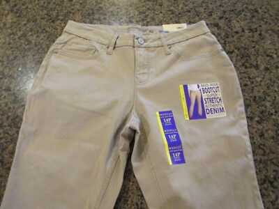 Faded Glory khaki Denim Jeans Belted Capri women's 14  Mid Rise NWT Rolled up
