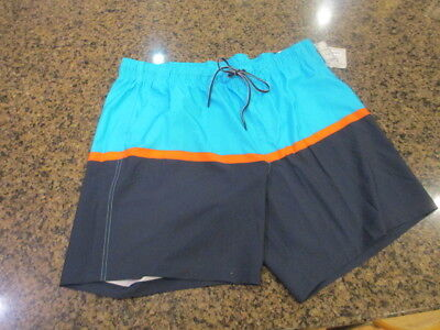 424536c7d2222 George Men's L 36 38 Shorts color block pull on hybrid blue Swim Trunks NWT  New