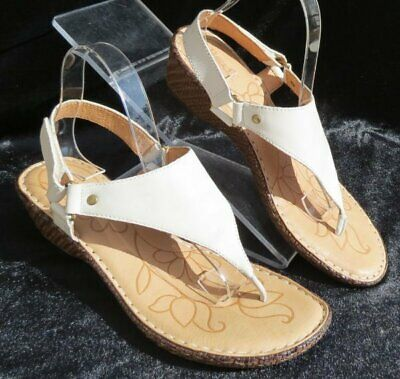 d85853fd1bd3 BORN Women s Ivory Leather Ankle Strap Wedge Thong Sandals Shoes US 10 10M
