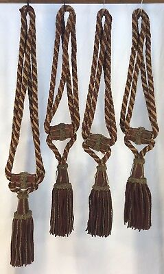Set Of 4 Antique Vintage French Curtain Drape Tiebacks Large Tassels