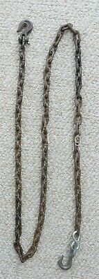 "antique HAND WROUGHT TRAMMEL FIREPLACE  IRON CHAIN & HOOKS blacksmith 90"" inch"