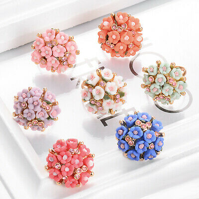 1Pc Beautiful Ceramic Flower Ring for Women Adjustable Rings Jewelry 7 Colors
