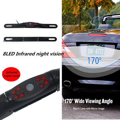Waterproof Car License Plate Reverse Rear View Camera 8led Infrared Night Vision Exterior