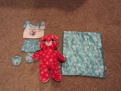 BUILD A BEAR HEARTS & HUGS VALENTINE RED PINK HEARTS + Disney Frozen clothes