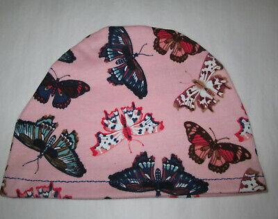 Kids Child Chemo Hat  Pink Butterflies Alopecia Sleep Cap Cancer Hat