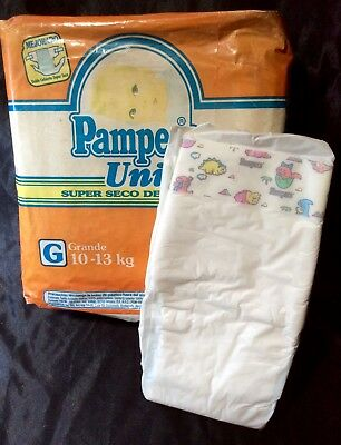 Vintage Pampers Uni Futur Plastic Backed Diaper size Med Mexico Import Reborn