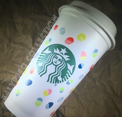 NEW 2019 Starbucks Reusable Spring Cup Easter Eggs Travel Lid Pastel To Go Cup