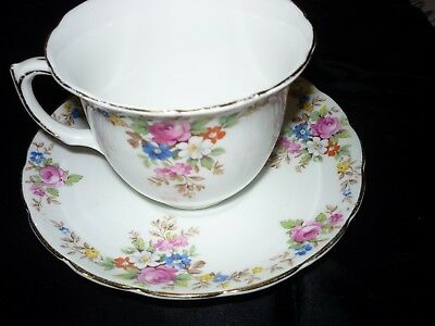 Foley Bone China England Cup & Saucer with floral design trimmed in gold